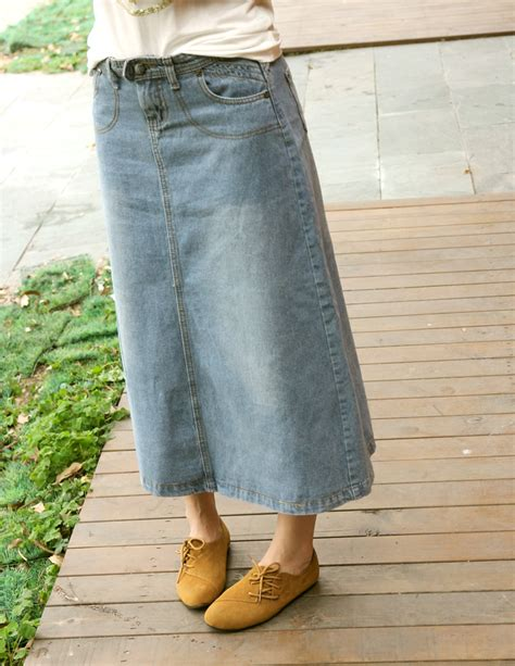 vintage denim skirt casual a line skirt ankle