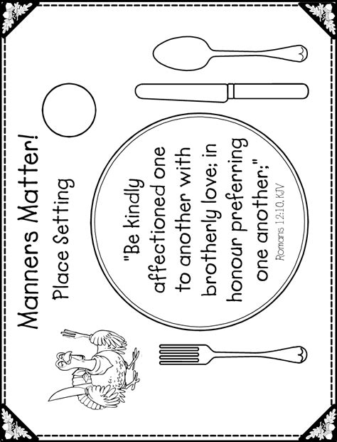 printable placemat 51 importance of table setting saving dinner
