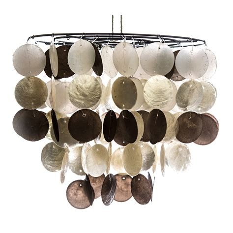 capiz shell l shade capiz shell tiered ceiling shade chagne mix leekes