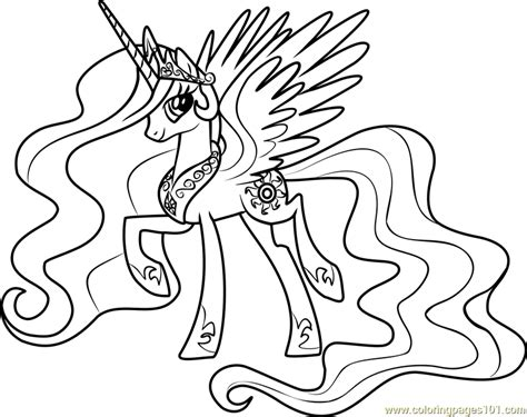 princess celestia coloring page free my little pony