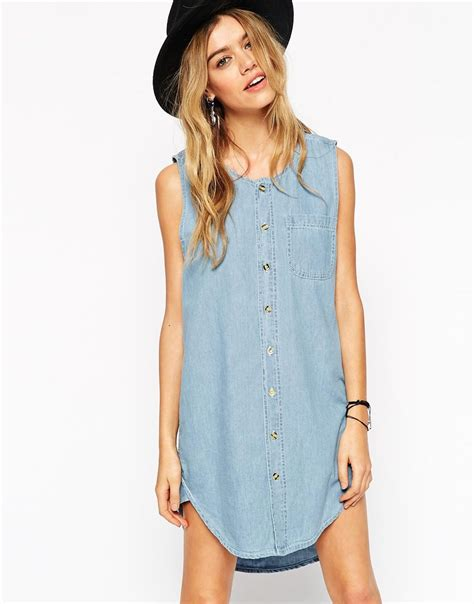 reclaimed vintage button front tunic shirt tank dress in denim skirts dresses