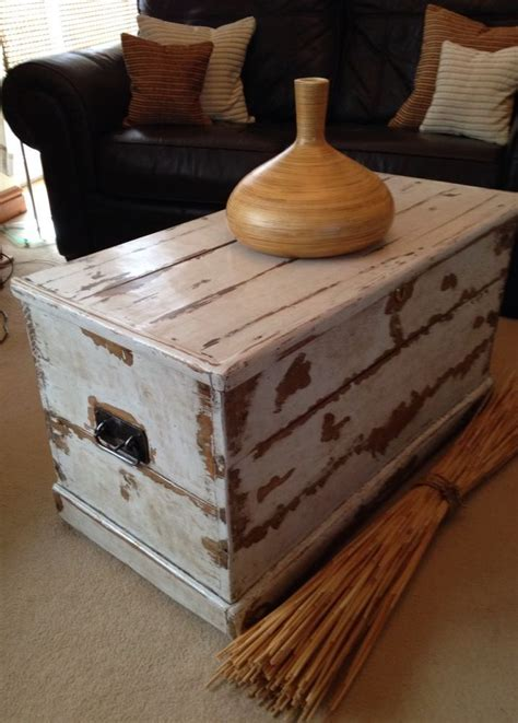 victorian antique  pinewooden sea chest trunk coffee