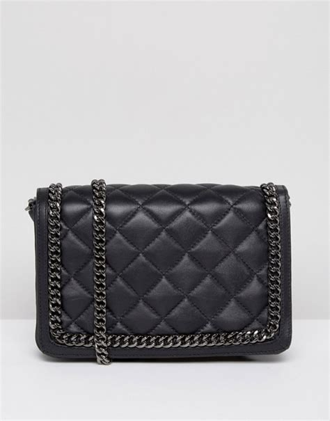 Leather Quilted by Asos Asos Leather Quilted Chain Shoulder Bag