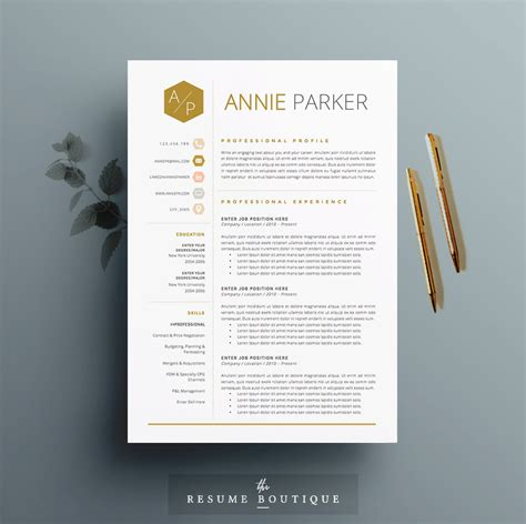 4 Letter Words Honey 4 page resume cv template cover letter for ms word