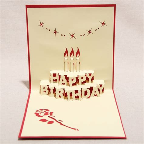 birthday 3d card template 3d quot happy birthday quot handmade creative kirigami origami