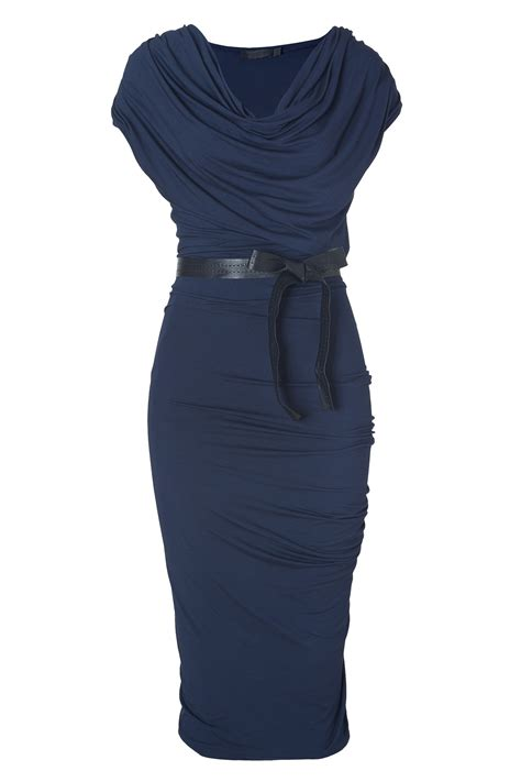 I Jersey Dresses by Donna Karan New York New Navy Draped Jersey Dress With