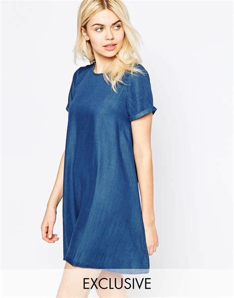 denim swing dress native youth denim tencel swing dress in blue lyst