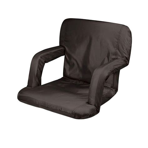portable recliner picnic time black ventura seat portable recreational