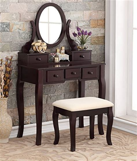 espresso vanity set with bench 3 piece wood make up mirror vanity dresser table and stool