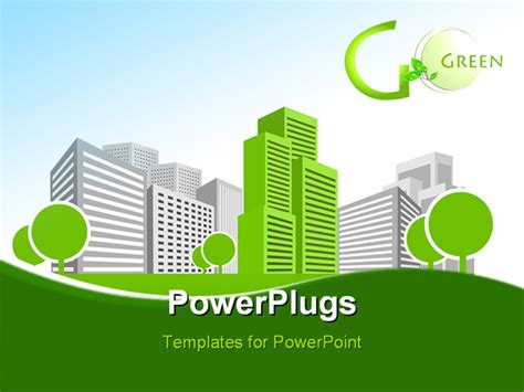 building a powerpoint template powerpoint template single green building shines among