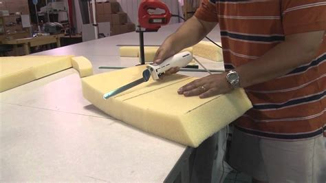 upholstery foam cutter cutting cushion foam using electric kitchen knife youtube