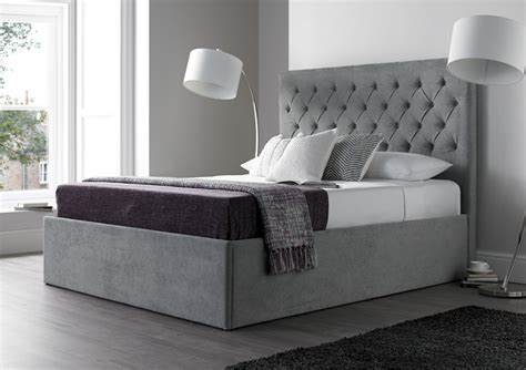 Grey King Bed Frame by Maxi Steel Grey Upholstered Ottoman Storage Bed Frame Only