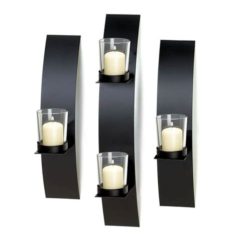 Modern Sconces Bathroom by Candle Sconce Black Modern Wall Sconce Candle Holder Set