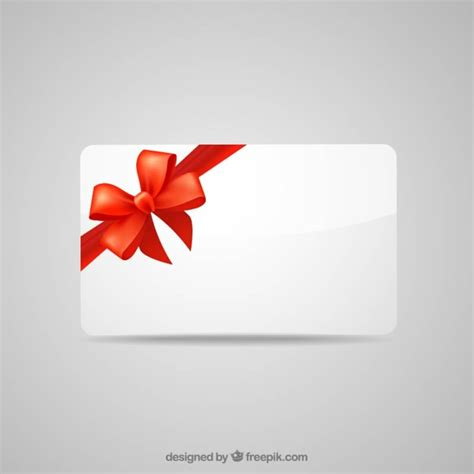 Ribbon Gift Cards - blank gift card with red ribbon vector free download
