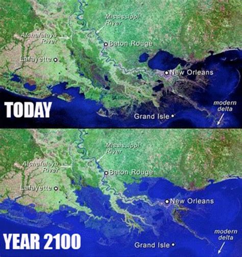 louisiana map before and after louisiana land being submerged at a rate of one football
