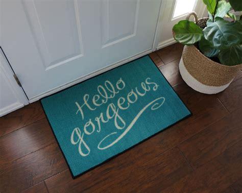 Hello Floor Mat by Hello Gorgeous Blue Door Mat Floormatshop
