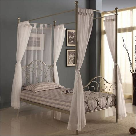 walker edison metal canopy bed w curtains pewter ebay
