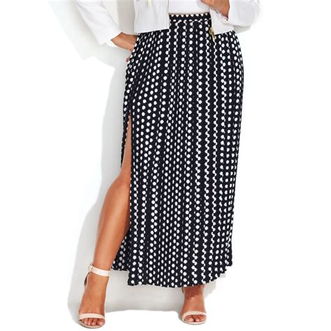 michael kors plus size printed pleated maxi skirt in white