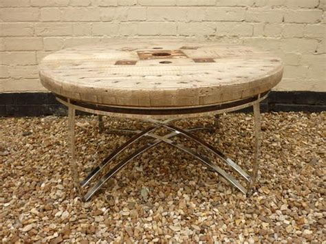 cable drum coffee table with chrome base made by me
