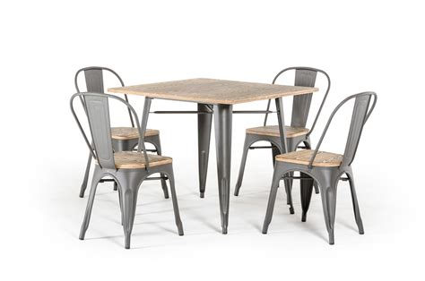 t 14005 modern grey metal and wood square dining table set