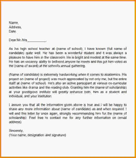 Reference Letter Scholarship Recommendation Letter For Letter Of Recommendation Template For A College