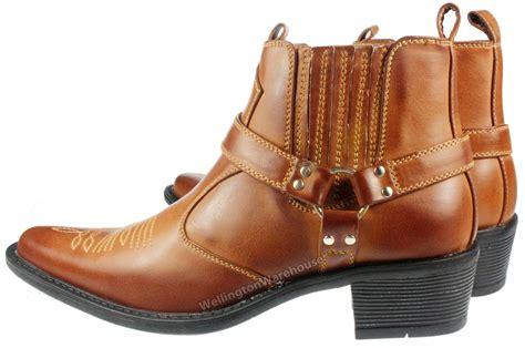 us brass mens eastwood brown high cuban heel cowboy