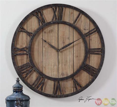 wooden wall clock powell rustic lodge aged wood panels wall clock 06344