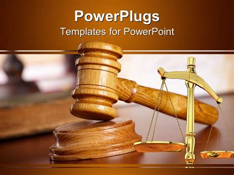 Powerpoint Template A Judges Wooden Gravel And A Justice Balance Scale 18092 Criminal Justice Powerpoint Templates