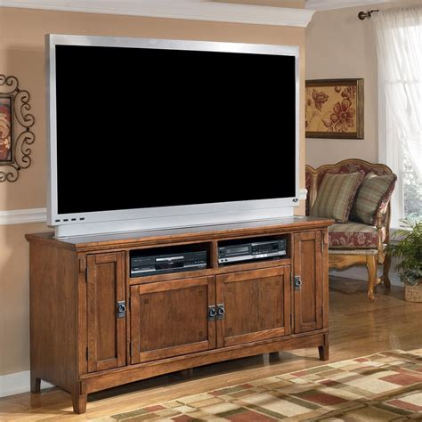 tv cabinet for 60 inch tv 60 inch oak tv stand with mission style hardware by ashley