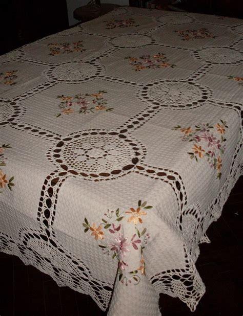 manteles tejido a crochet con tela manteles en crochet y tela r 250 stica bordado en cinta 1