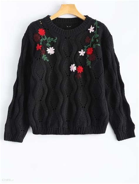 Neck Embroidered Sweater neck floral embroidered sweater ceneo pl
