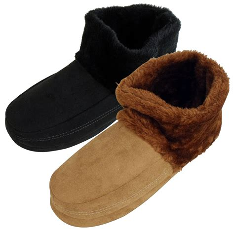 furry house shoes mens dunlop ankle boot furry slipper bootee faux suede warm slippers sizes 7 12 ebay