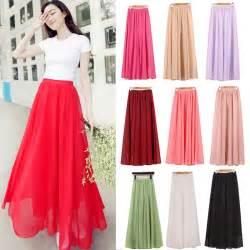 Wholesale women chiffon long skirts candy color pleated maxi women
