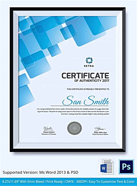certificate template software certificate of authenticity template what information to