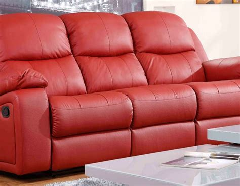 leather sofas montreal montreal rosso red reclining 3 3 seater leather sofa set