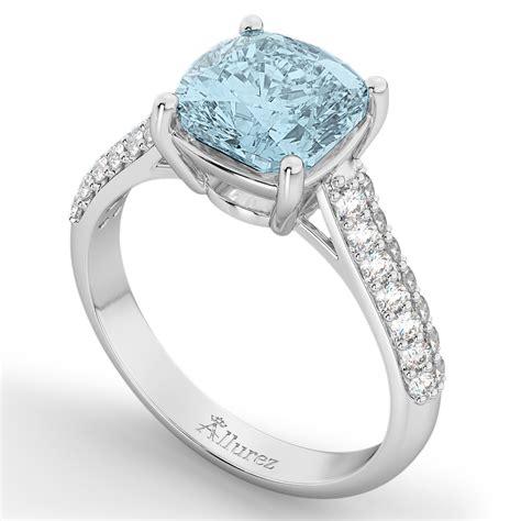cushion cut aquamarine engagement ring 18k white