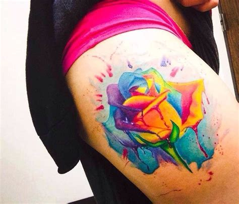 color rose tattoo 15 must see watercolor tattoos pins