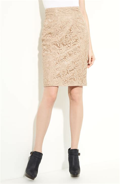 burberry lace pencil skirt in beige lyst