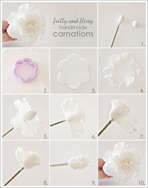 Handmade Flowers Tutorial - diy frilly handmade carnations fondant flower tutorial