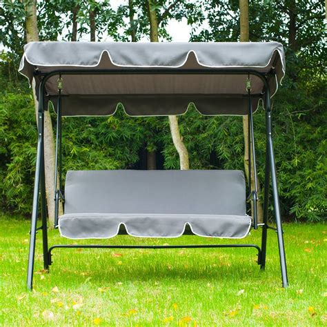 swinging bench canopy outsunny swing chair 3 seater cushioned bench aosom co uk