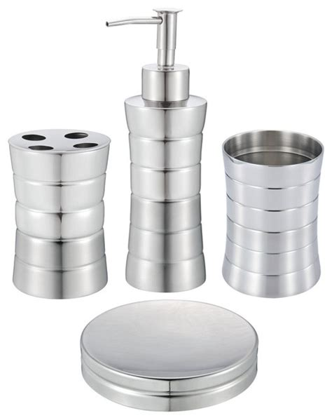 Modern Stainless Steel Bathroom Accessories 4 Bathroom Set Stainless Steel Contemporary