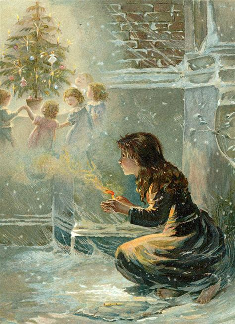 themes in little match girl the little match girl painting by english school
