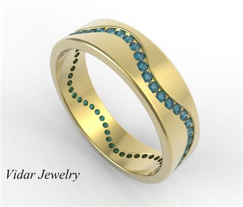 Wedding Ring Wave Design by Mens Wedding Band Unique 14k Yellow Gold Blue Diamonds