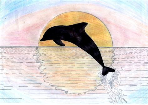 Dolphin Jumping Out Of Water Drawing dolphins jumping out of the water at sunset