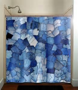 blue pockets denim shower curtain from tablishedworks on