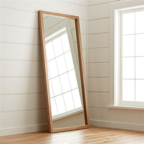 linea teak floor mirror reviews crate  barrel