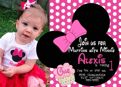 minnie mouse first birthday invitations drevio