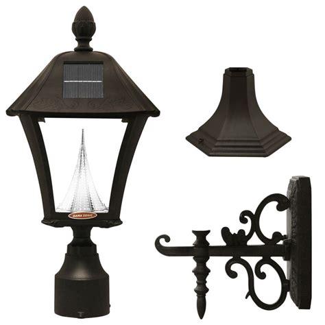 solar outdoor light fixtures gama sonic baytown black solar post mount wall mount led