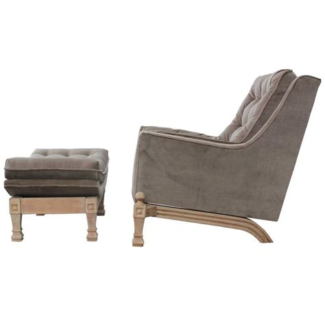 grey chair with ottoman modern bleached tufted grey velvet lounge chair with