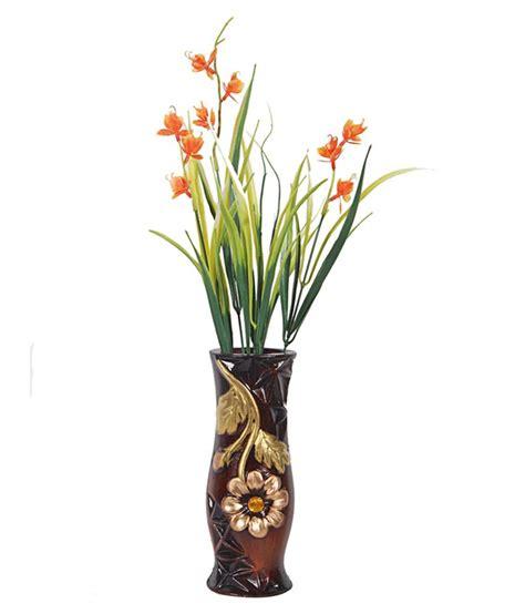 orchard ceramic flower vase with orange water iris flowers